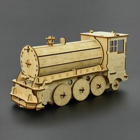 巡线小火车木质拼装互动模型