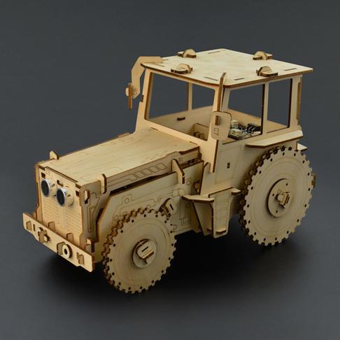 避障老爷车木质拼装互动模型