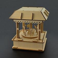 七彩音乐旋转木马木质拼装互动模型