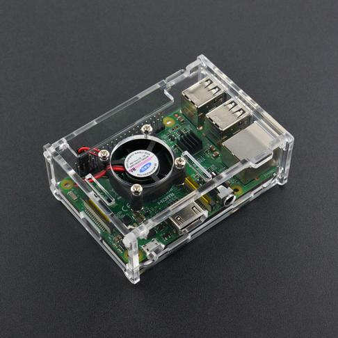树莓派透明亚克力外壳 (带风扇和散热片 兼容树莓派B+/2B/3B)